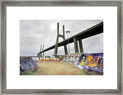 Vasco Da Gama Bridge Framed Print by Andre Goncalves