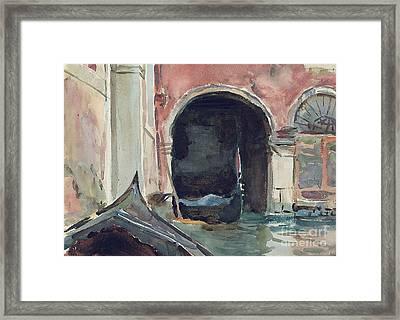 Venetian Canal Framed Print by John Singer Sargent