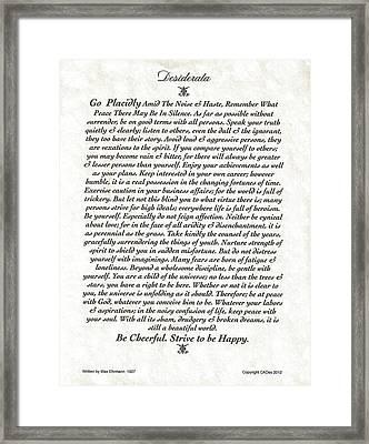 Venezio Style Desiderata Poem Framed Print by Desiderata Gallery