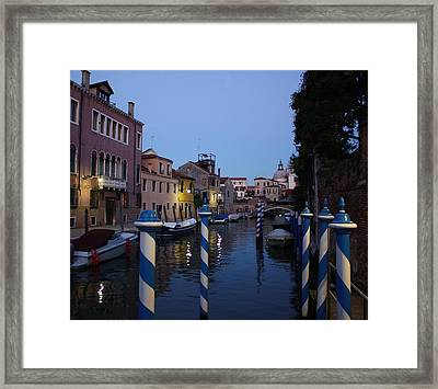 Venice At Night Framed Print by Pat Purdy