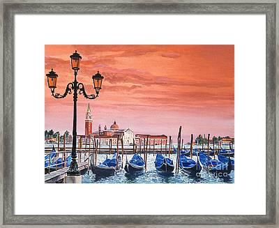 Venice Gondolas Framed Print by David Lloyd Glover