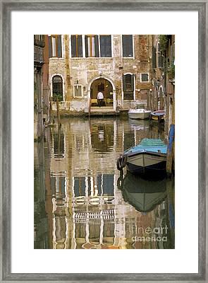 Venice Restaurant On A Canal  Framed Print