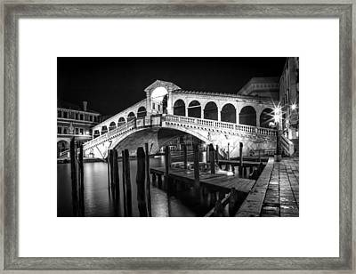 Venice Rialto Bridge At Night Black And White Framed Print by Melanie Viola