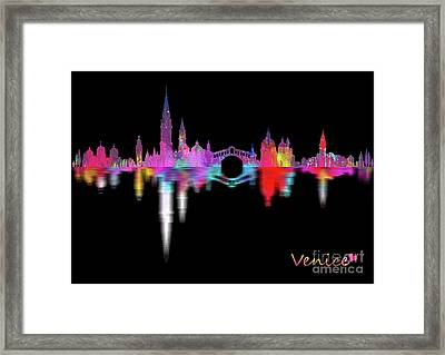 Venice Skyline  Italy -night Framed Print