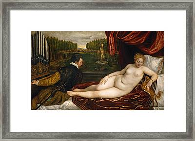 Venus With An Organist And A Dog Framed Print by Titian