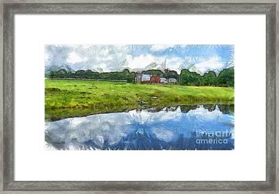 Vermont Farm Landscape Pencil Framed Print