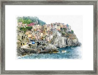 Manarola Italy In The Cinque Terra Framed Print by Edward Fielding