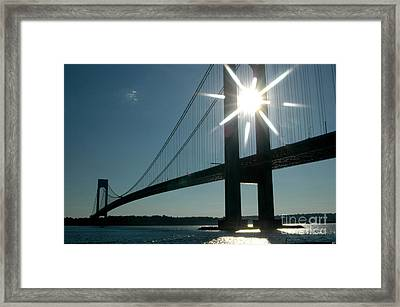 Verrazano Bridge Starburst Framed Print