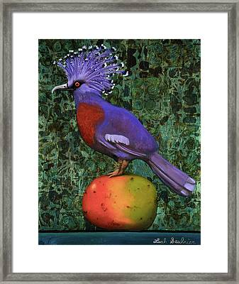 Victoria Crowned Pigeon On A Mango Framed Print by Leah Saulnier The Painting Maniac