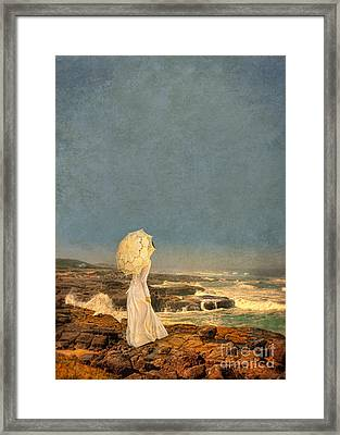Victorian Lady By The Sea Framed Print by Jill Battaglia