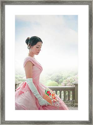 Framed Print featuring the photograph Victorian Woman In A Pink Ball Gown by Lee Avison