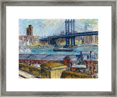 View From Brooklyn Bridge Framed Print by Joan De Bot