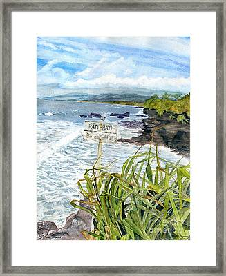 Framed Print featuring the painting View From Tanah Lot Bali Indonesia by Melly Terpening