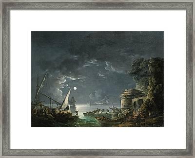 View Of A Moonlit Mediterranean Harbor Framed Print by Carlo Bonavia