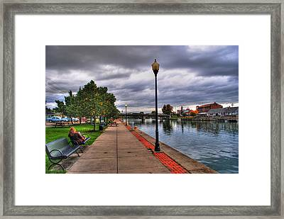 View Of Delaware Bridge At Erie Canal Harbor Framed Print by Michael Frank Jr