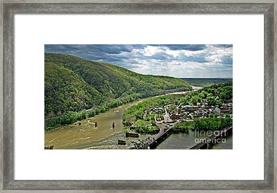 View Of Harpers Ferry From Maryland Heights Overlook Framed Print