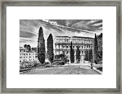 View Of The Back Of The Coliseum Early On A Sunny Summer Morning Framed Print