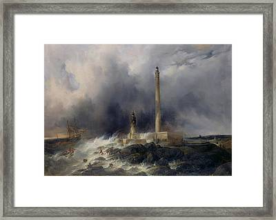 View Of The Lighthouse At Gatteville Framed Print