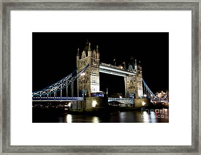 View Of The River Thames And Tower Bridge At Night Framed Print
