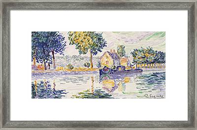 View Of The Seine, Samois Framed Print by Paul Signac