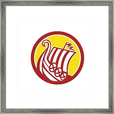 Viking Ship Circle Retro Framed Print