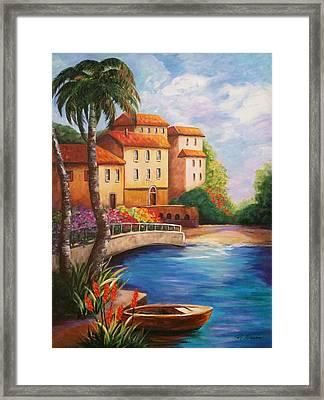 Villas By The Sea Framed Print by Rosie Sherman