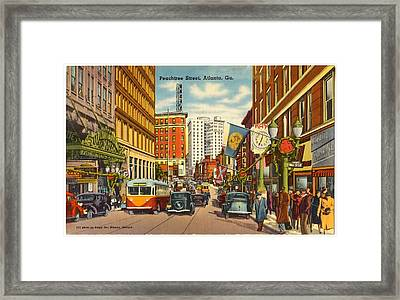Vintage Atlanta Postcard Framed Print by Mountain Dreams