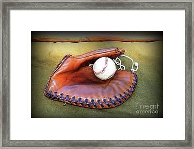 Vintage Baseball Glove Framed Print