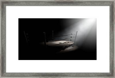 Vintage Boxing Ring Spotlit Corner Framed Print by Allan Swart