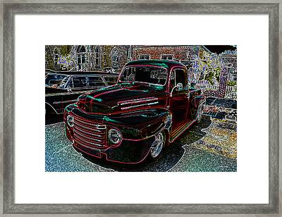 Vintage Chevy Truck Neon Art Framed Print