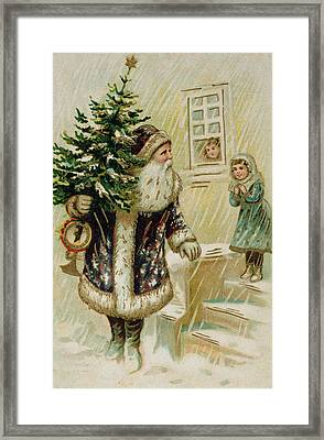 Vintage Christmas Card Framed Print by American School