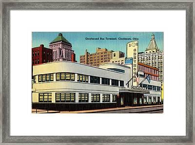 Vintage Cincinnati Postcard Framed Print by Mountain Dreams