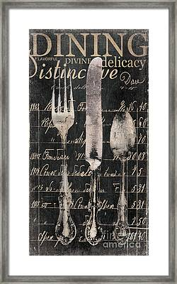 Vintage Dining Utensils In Black  Framed Print by Grace Pullen