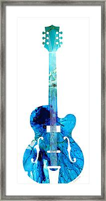 Vintage Guitar 2 - Colorful Abstract Musical Instrument Framed Print by Sharon Cummings