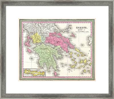 Vintage Map Of Greece  Framed Print by CartographyAssociates