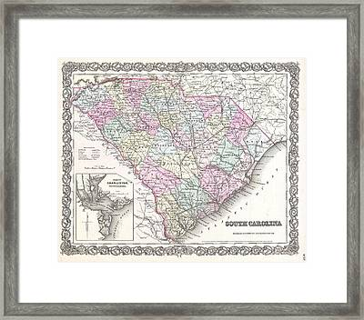 Vintage Map Of South Carolina  Framed Print by CartographyAssociates