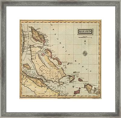 Vintage Map Of The Bahamas  Framed Print
