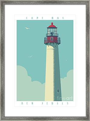 Vintage Style Cape May Lighthouse Travel Poster Framed Print by Jim Zahniser