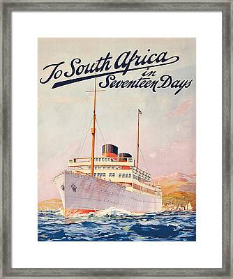 Vintage Travel Poster Advertising A Cruise To South Africa Framed Print