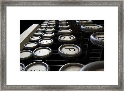 Vintage Typewriter Keys Close Up Framed Print