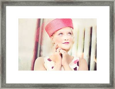 Vintage Val The Coral Hat Framed Print