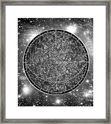 Vintage Zodiac Map - Black And White Framed Print by Marianna Mills