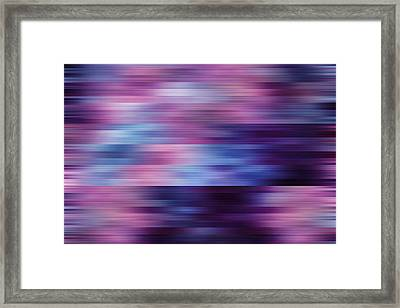 violet blurred abstract background texture with horizontal stripes. glitches, distortion on the screen broadcast digital TV satellite channels Framed Print by Oksana Ariskina