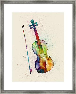 Violin Abstract Watercolor Framed Print