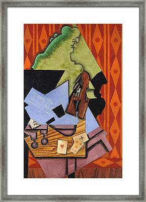 Violin And Playing Cards On A Table Framed Print by Juan Gris