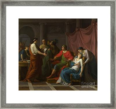 Virgil Reading The Aeneid To Augustus And Octavia Framed Print by Celestial Images