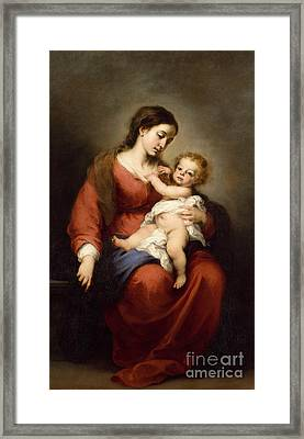 Virgin And Child Framed Print by Bartolome Esteban Murillo