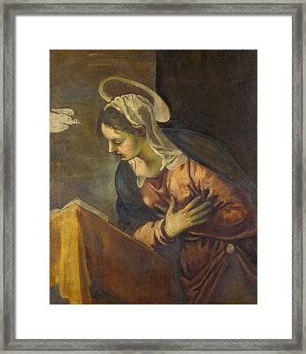 Virgin From The Annunciation To The Virgin Framed Print by Tintoretto