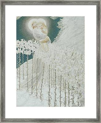 Virgin Of The Lilies Framed Print by Carlos Schwabe
