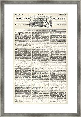 Virginia Gazette, 1776 Framed Print by Granger
